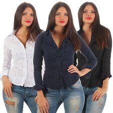 5827 Damen Langarm Damenbluse Hemdbluse Businessbluse Stretch Bluse Streifen