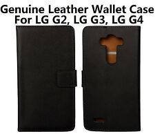 For LG G4/G3/G2, Black Genuine Leather Business Wallet Card Case Cover Stand