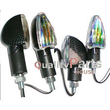 4x Spear Carbon Bulb Indicators Front & Rear Motorbike Motorcycle (Iridium Lens)