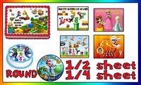 Super Mario Bros Birthday Cake topper Edible Icing Image Photo sheet sugar luigi