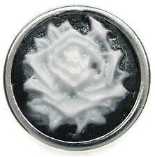 Neu DRUCKKNOPF für Armband/Druckknopf Armbänder ROSE schwarz-weiß Button silber