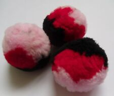 "1.5 "" large 3 Multi-Colors Pink / Red / Black Pom Pom- 12 pcs-M003"