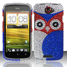 For T-Mobile HTC One S Crystal Diamond BLING Hard Case Snap Phone Cover Red Owl