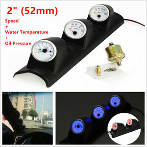 2'' Car SUV Triple Gauge Kit 3 in 1 Spped Tachometer RPM Water Temp Oil Pressure