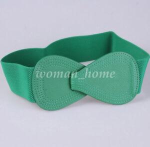 Chic Women Bowknot Elastic Buckle Waist Belt Bow Wide Stretch Corset Waistband
