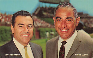 Lou Boudreau & Vince Lloyd Voice of The Chicago Cubs Postcard