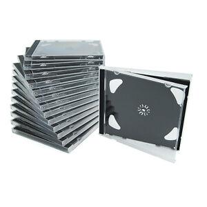 50 Doppel CD Jewelcase /CD Leer Hüllen für 2 CD/DVD, transparent, Tray schwarz