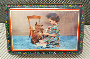 Antique Big Box Metal Iron Deco Little Girl Dog Years 50 Collection