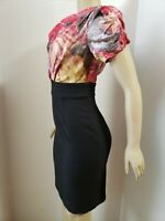 Suzi Chin for Maggy Boutique Red & Black Silk Floral Sheath Dress Sz 6 NWOT