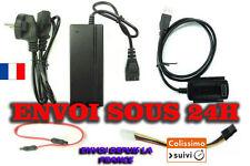 """ADAPTATEUR CONVERTISSEUR USB DISQUE DUR IDE-SATA 2.5"""" 3.5"""" 5.25"""" + ALIMENTATION"""