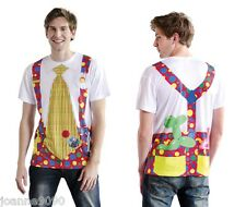 Adult Mens Womens Deluxe Faux Circus Clown Tie Funny Fancy Dress Costume T-Shirt