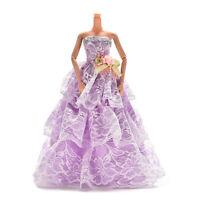 Vestido de novia hecho a mano para Barbie conflores accesorios demuñeca 3colorSC