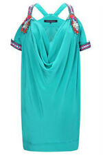 French Connection 100% Silk Mint Green Embellished Dress Size 16