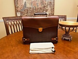 DUNHILL OF LONDON  Authentic Bridle Leather / Coated Canvas Briefcase / Attache