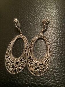 Signed Sterling Silver Art Deco Style Marcasite Pierced Earrings Drop Dangle