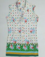True Vintage 1970's Mod Mini Dress Flower Power S 8 Retro Costume Collar Floral