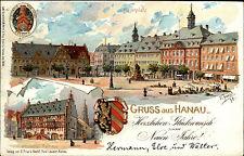 HANAU Litho-Prägekarte 1898 Marktplatz Wappen Goldschrift-Prägung Künstlerkarte