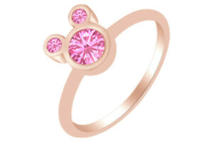 Round Shape Tourmaline Mouse Ring 14K Rose Gold Over Sterling Silver