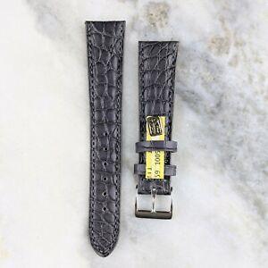 Genuine Louisiana Alligator Leather Watch Strap - Grey - 18mm