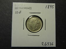 STRAITS SETTLEMENTS MALAYSIA 1895 SILVER 10 CENTS, CHOICE EF ++ !