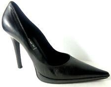 CASADEI Black Smooth Leather Platform Stiletto Pump Shoes 8M ITALY