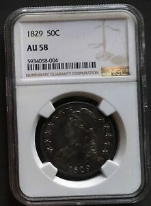 1829 EARLY SILVER HALF-DOLLAR NGC AU 58*** FREE*** s/h