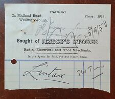 1953 Jessops Stores, Radio & Electrical, 2a Midland Road, Wellingborough Invoice
