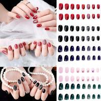 24pcs Glitter Fake Nails Art Tips Acrylic Full Cover Nail False Manicure Decor
