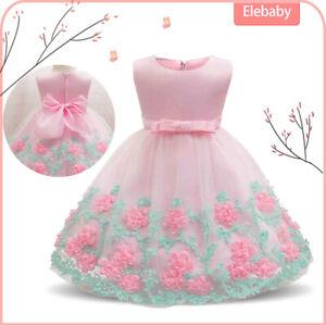 Princess Bridesmaid Party Flower Bow Wedding Prom Dress Kids Girls Dresses Xmas