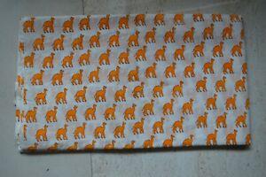 Indian Block Fabric Camel 100 % Cotton Handmade Dress Making Fabric 2.5 Yard ..