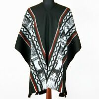 BLACK HANDMADE LLAMA WOOL MENS CAPE PONCHO COAT JACKET ECUADOR