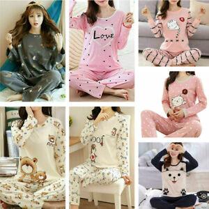 Ladies Womens Pyjamas pj Set Long Sleeve Top Nightwear LoungeWear Pajamas