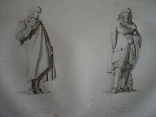 Grande gravure des Statues Nicolas POUSSIN et Pierre CORNEILLE Dumont Laitié