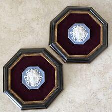 New listing 2 Vintage Theodore Alexander Pale Blue Jasper ware Medusa Plaque Framed Wall Art