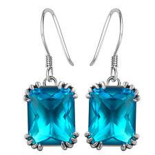 Chic Jewelry 925 Silver Blue Topaz Gemstone Dangle Drop Earrings Wedding Jewelry