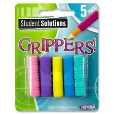 PACK OF 5 SOFT GRIP PENCIL GRIPPERS ASSORTED COLOURS -(LEFT OR RIGHT HANDED)