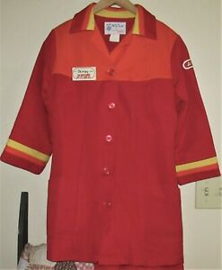 2 VINTAGE A & P GROCERY STORE BUTTON FRONT UNIFORM TOPS w/LOGO & NAME TAG