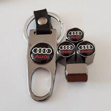 AUDI GREY Wheel Valve Dust caps & Spanner Keyring Keychain all models 7 COLOURS