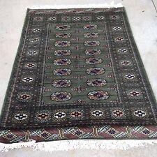 4x6 hand knotted oriental rug Mango Green Jaldar 100% Wool Pile Bokhara Design.