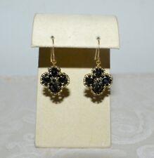 New Miguel Ases Sml Black Beaded Flower Wire Drop Earrings Miyuki