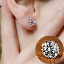 Women's 18ct White Gold Plated Single Round 5mm Cubic Zirconia Stud Earrings