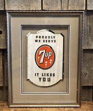 Wondeful Vintage Original We Serve 7UP Soda Drink Die Cut Sign Prof Framed