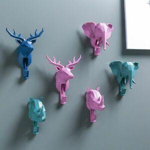 Key Holder Wall Hang Hook Plastic Nordic Animal Fun Home Decor Sticker Decal