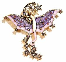 NIGHT FAIRY BROOCH bat wing vampire art nouveau crystal star moon pin gothic 2W