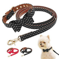 Bowtie Dog Collar and Leash PU Leather British Style Chihuahua Adjustable S/M/L