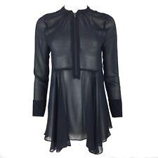 MINT VELVET Sheer Black Chiffon Zip Up Blouse 10
