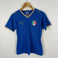 Puma Italy Womens Soccer Football Shirt Jersey XS Blue Short Sleeve V-Neck