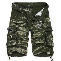 Casual Mens Cotton Summer Army Combat Camo Cargo Shorts Pants Trousers 3/4 Khaki