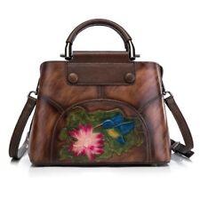Women Genuine Real Cow Leather Shoulder Bag Embossed Handbag Travel Bag Small