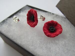 Red Remembrance Small Poppy Flower Handmade Stud Earrings - Gift Boxed